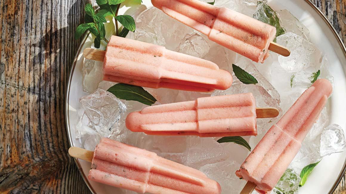 Sucettes glacées au melon d'eau et à la menthe